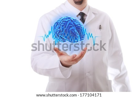 Very high resolution 3d rendering of an human brain. - stock photo