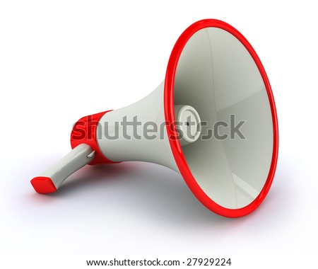 Very high resolution megaphone on white background - stock photo