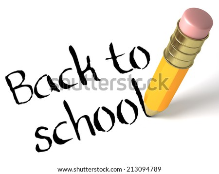 Very high resolution rendering of a pencil writing back to school