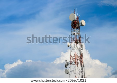 Very high telecommunication tower and blue sky. - stock photo