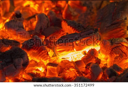 Very hot charcoal burning in the touristic campfire - stock photo
