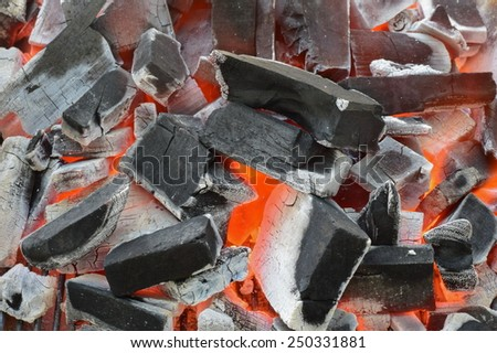 very hot charcoal in stove - stock photo