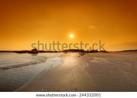 very hot on the beach in Rayong province Thailand - stock photo