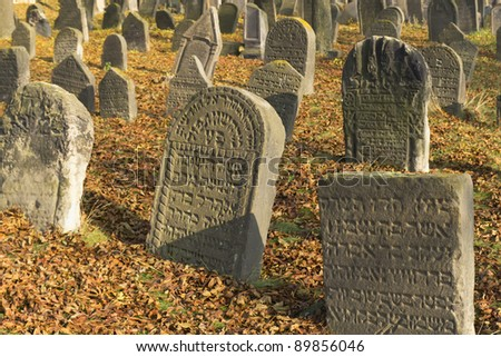 Very important Jewish cemetery in Libochovice (Czech Republic), founded in 1583 with many tombstones of Renaissance and Baroque type. - stock photo