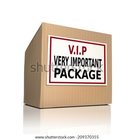 very important package on a paper box over white background - stock photo