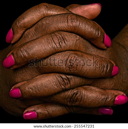 Very Interesting Image of Hands with Pink Fingernails - stock photo