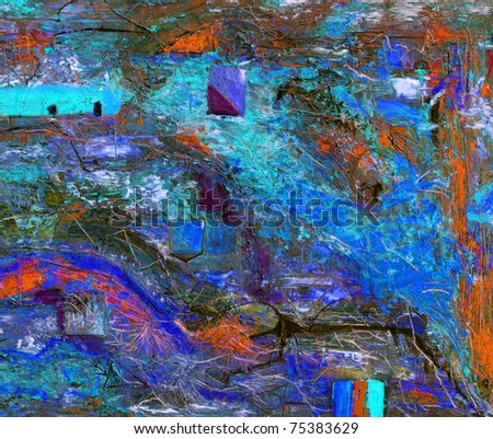 Very Interesting Large scale abstract Oil On Canvas - stock photo
