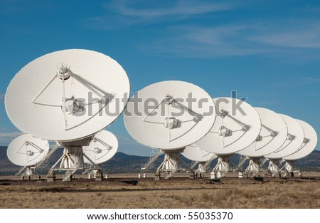 Very Large Array satellite dish antennas - stock photo
