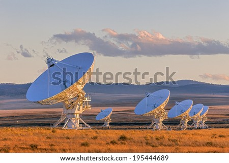 Very Large Array Satellite Dishes at Sunset in New Mexico, USA - stock photo