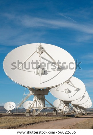 Very Large Array white antennas and desert plains