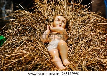 Very large christmas nativity crib. Jesus in the manger - stock photo