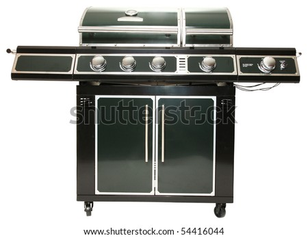 Very large gas barbecue grill with clipping path over white. - stock photo