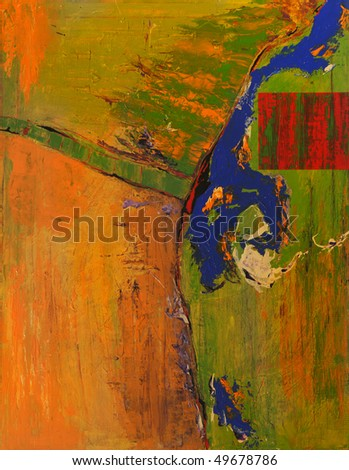 Very Large scale abstract Original Oil on canvas - stock photo
