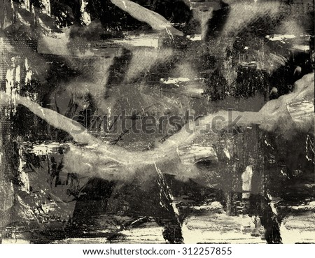 Very Large scale abstract Original Oil on Paper - stock photo