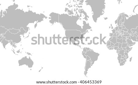 very light grey world map centered on united states of america with outlines on white background and internal borders - planet geographic illustration - global earth cartographic picture - stock photo