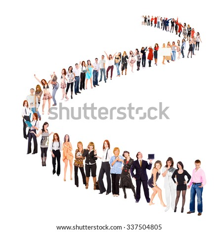 Very Long Line People in Queue  - stock photo