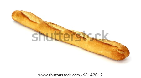 Very long sourdough baguette bread on a white background.