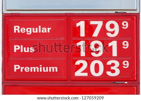 Very low gasoline prices in Texas, November 2008 - stock photo