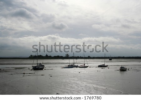 very low tide on the Blackwater Estuary, heybridge basin, Essex, UK - stock photo