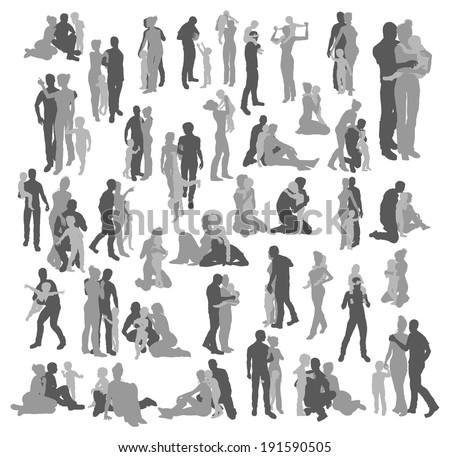 Very many high quality detailed silhouettes of a young happy family, couple and child, in various poses  - stock photo
