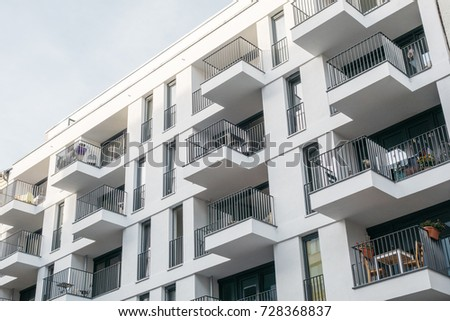 Very Modern Apartment Building With White Facade
