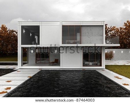 Very modern house visualization, contemporary architecture in autumn scenery, backyard view with terrace and pool. - stock photo