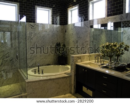 Very modern large master bath - stock photo