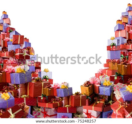 Very much of colorful gift boxes on white background. - stock photo