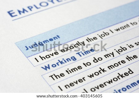 very near close up of employee survey