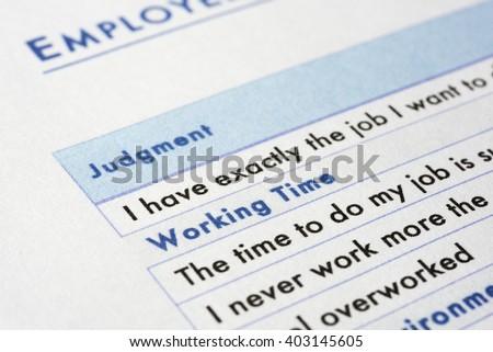 very near close up of employee survey - stock photo