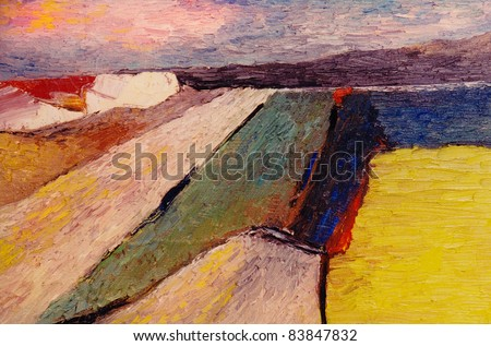 Very Nice Abstract original Oil painting on Canvas - stock photo