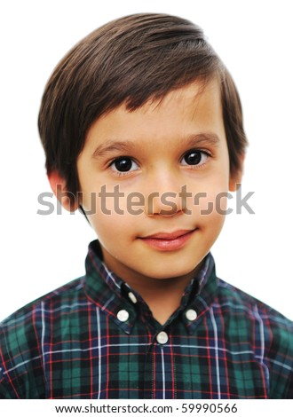 Very nice cute boy with smile on face, isolated - stock photo