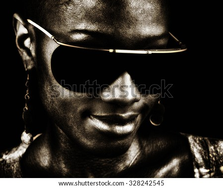 Very nice Image of a Afro American Jazz musician on black - stock photo