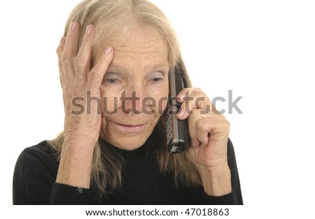 Very Nice Image of a Senior woman On White with Phone - stock photo