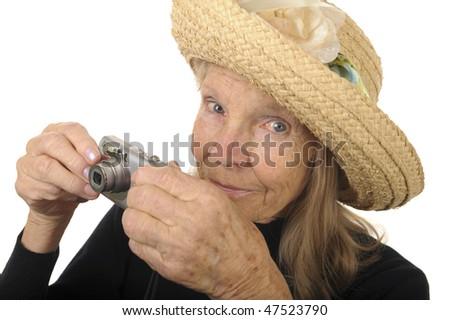 Very Nice Image Of a Senior Woman With Camera - stock photo