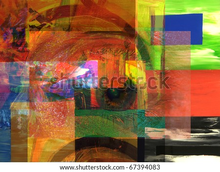 very nice Image of an original Large scale Abstract Collage In Canvas - stock photo