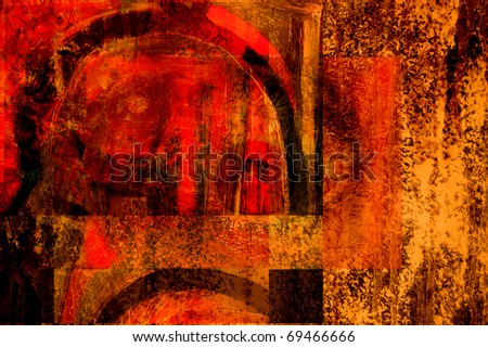 very nice Image of an original Large scale Abstract Painting In Canvas - stock photo