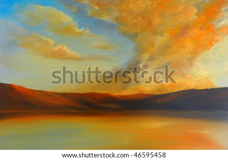 Very Nice Image of an Original Oil Painting On Canvas - stock photo