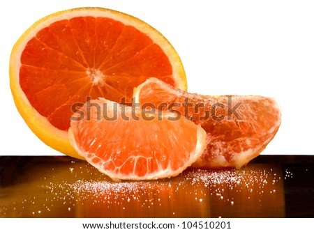 Very Nice Image of Grapefruit with Sugar and reflection
