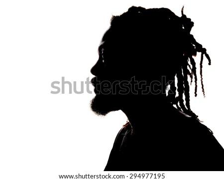 Very Nice Image Silhouette of a rastafarian Man - stock photo
