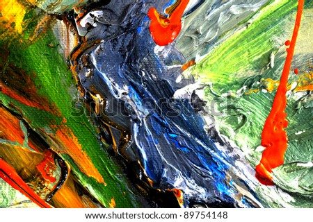 very nice large scale abstract oil On Canvas - stock photo