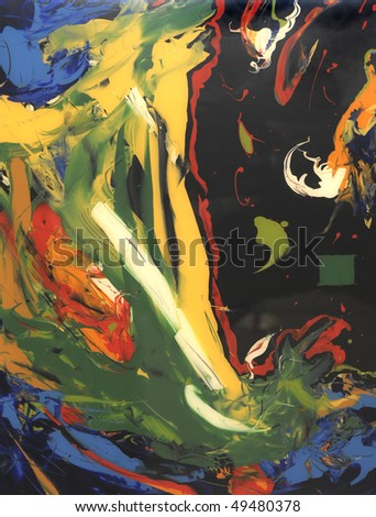 very Nice large Scale Abstract Painting On Glass in Verso - stock photo