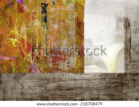 Very Nice large scale original Montage Painting on Canvas - stock photo