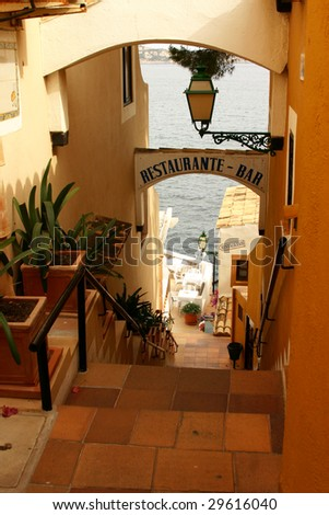 Very nice mediterranean entrance to a very small but comfortable restaurant. The Entry was sighted in spain. - stock photo