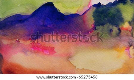 Very nice original abstract Landscape Watercolor - stock photo