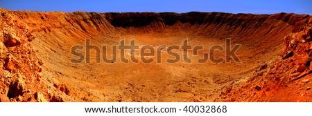 Very Nice Panoramic Image of the Meteor Crater in Arizona - stock photo