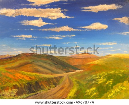 very Nice soft original Oil painting On canvas [soft technique] - stock photo