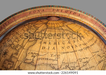 Very Old Ancient Globe Map - stock photo