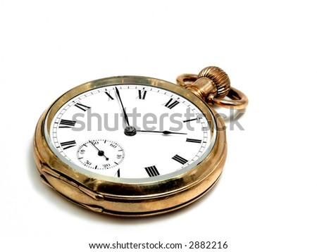 Very old and beautiful pocket clock in gold - stock photo