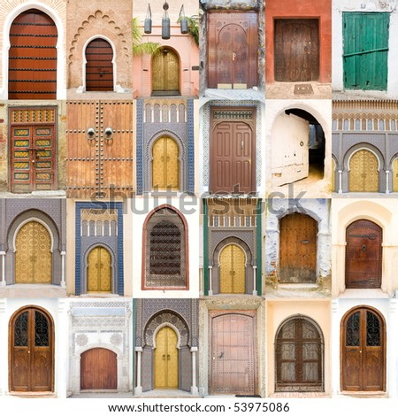 Very old, blue and Golden doors of Morocco - stock photo